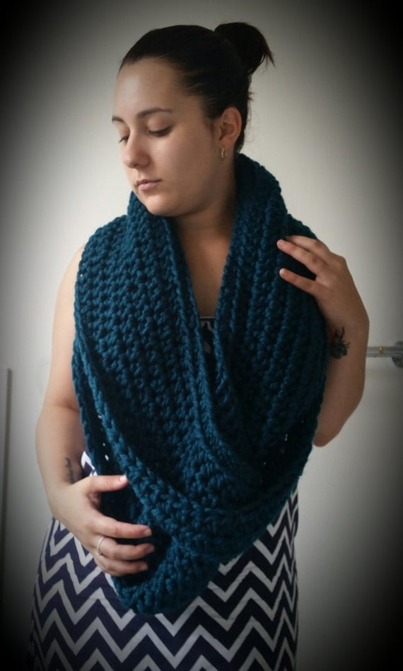 Triple Twist Infinity Crochet Scarf Dark Teal by EssJaeCrochet Twist Crochet Scarf