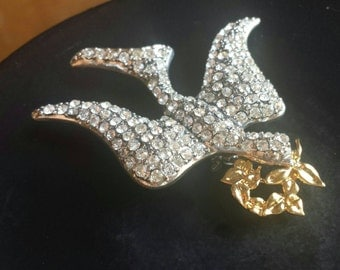 Monet signed peace dove rhinestone brooch