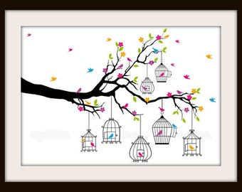 Colorful Tree With Hanging Birdcages and Birds Cross Stitch PDF Pattern. Instant Download!!