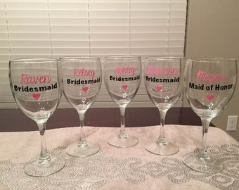 Items similar to WEDDING PARTY Wine Glasses on Etsy