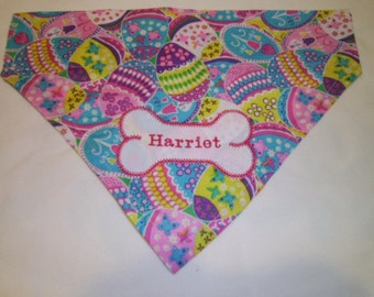Dog Bandana, Easter Bandana, Personalized, Monogram, Over the Collar, Dog Bandana, Scarf, Eggs,