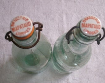 2 x French Beer Bottle c1930s Soda Tonic Water Ceramic Wire tops from Limoges Bar