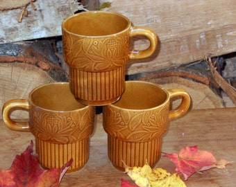 Honey Brown Floral  Mugs Japan Set Of Three 1970s Retro Stacking Coffee Cups Vintage Kitchen Ware