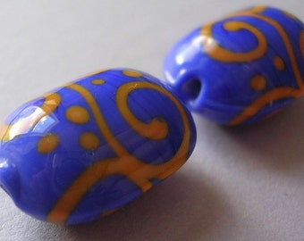 Lampwork Glass Blue Orange Beads Handmade Ericabeads Cobalt and Coral Oval Lentils  (2)
