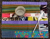 FOUR colorful Patchwork PLACEMATS - two-sided