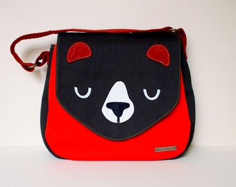 Shoulder Bag - The Honey Bear Handbag (Dark Olive Orange)