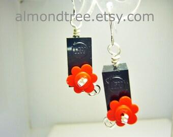 Sale Black n Red lego earrings, fun casual jewelry id1340418, earrings, wire wrapped, jewellery, schmuck, boucles d'oreilles