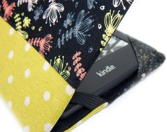 Kindle Paperwhite Cover - Shrimpy Floral Party - black and lime dotted hardcover case for Kindle Touch or basic - eReader cover