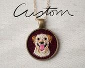 Custom Pet Portrait - Dog - Cat - Keepsake Pendant Necklace - Embroidered - One of a kind - Labrador - Poodle -Maltese
