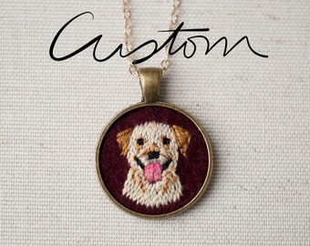 Custom Pet Portrait - Dog - Cat - Keepsake Pendant Necklace - Embroidered - One of a kind - Labrador - Poodle -Maltese