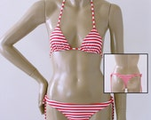 Thong Bikini Bottom with Tie Sides and Triangle Top in Red and White Candy Stripe in Top Sizes to DD