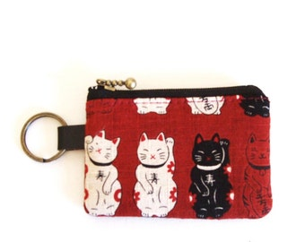 Key/coin purse  - cat print in red