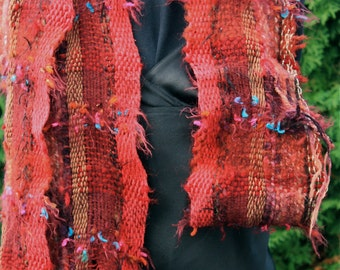 Merlot B05, an Everyday Scarf in burgundy with a stripe of gold handwoven and felted by me