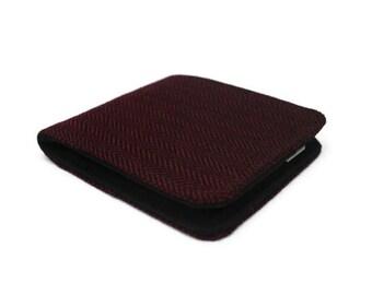 Mens Billfold Wallet / Super Thin Minimalist BiFold / Burgundy Herringbone Fabric Wallet / Vegan Wallet
