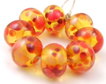 Orange You Glad - Handmade Artisan Lampwork Glass Beads 8mmx12mm - Orange, Red - SRA (Set of 8 Beads)