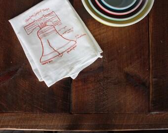 Liberty Bell diagram tea towel - white cotton floursack kitchen towel
