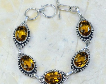 VINTAGE Sterling tone Bracelet with 5 Citrine faceted ovals