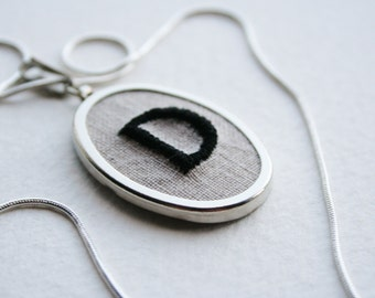 Letter D Personalized Jewelry Necklace Hand Embroidered Initial D