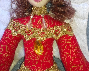 "ANGELI Di NATALE (brunette) by Michelle Munzone 20cm (8"") Tall, Limited Edition, Hanging Christmas Ornaments"
