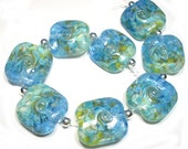 Handmade Glass Lampwork Beads, Sea to Sky Squeezed Beads