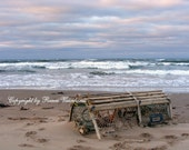 Seascape, Lobster Trap on Beach,Nature Scene, Fine Art Photography,Photo Print,Seascape Photography, Photo,Water,Sky,Red Sand Beach,Waves