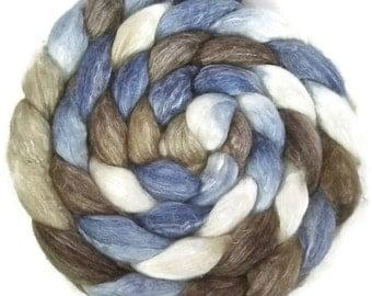 Handpainted Merino Bamboo Silk Roving - 4 oz. SANDPIPER - Spinning Fiber