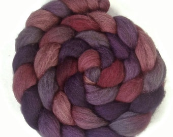 Handpainted Dark BFL Wool Roving - 4 oz. METEOR SHOWER - Spinning Fiber