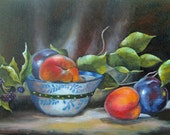 Peaches and plums in pretty bowl still life ACEO reproduction