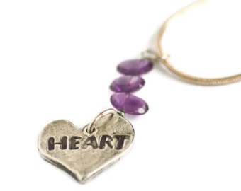 Heart Shaped Heart Word Charm Amethyst Triplet Sterling Ball or Snake Chain Necklace Original Stamped Charm Pendant Chain Valentine Gift