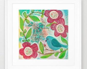 bluebird, blooms, a good life, mixed media, print, flower
