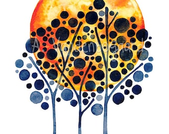 SALE Harvest Moon Original Watercolour Painting Tree Wall Art Watercolor Artwork