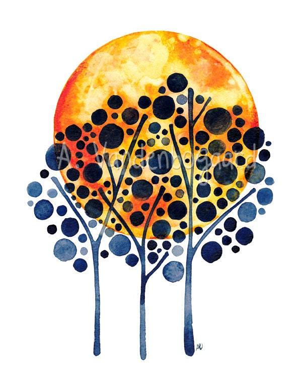 Harvest Moon Original Watercolour Painting Tree Wall Art Watercolor Artwork