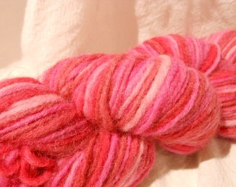 SALE!!  Wooly Hand-Spun/Dyed, col: 9202-Cherry Yarn, by Mango Moon