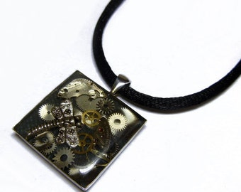 Steampunk Resin DRAGONFLY Old Vintage Watch Parts Altered Art Mixed Media Pendant with Adjustable Necklace