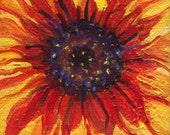 Sunflower Painting, Sunflower Art, Red Sunflower on Canvas, Original acrylic painting canvas art, sunflower decor, mini painting, easel