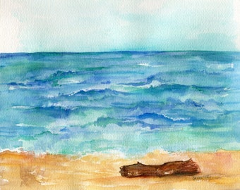 Seascape watercolor painting Original, 8 x 10 Still Wish I was at the Beach, sea illustration, SharonFosterArt