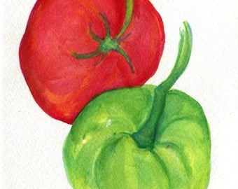 Tomatoes Original Watercolor Painting, Small Fruit Painting, Food Kitchen decor, wall art, 5 x 7 watercolor art, SharonFosterArt