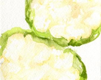 Cauliflowers watercolors paintings original, Vegetable watercolors, 5 x 7, small kitchen decor, cauliflower wall art, original painting