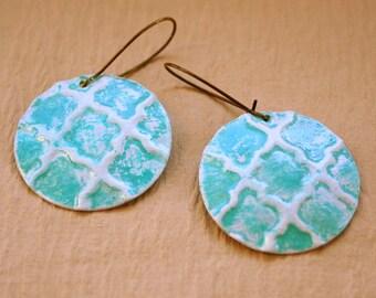 Fancy Earrings - Painted Copper Discs - Textured Dangles