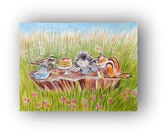 Animal Picnic Illustration Woodland Giclee Print 8 x 10 Art  baby Nursery Decor Home Decor Sparrow Mole Chipmunk Tea Party