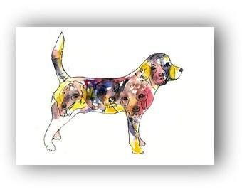 Brushfolks Beagles in a Beagle Watercolor ACEO Art Print