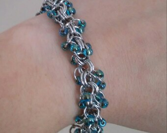Turquoise Shaggy Chainmaille Bracelet