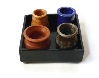 Tray of Pots - Ceramic Tray with Miniature Earth Toned Pots