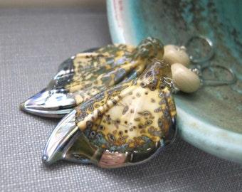 Silver Earrings, Glass Earrings, Glass Wings, Ivory Wings, Silver Jewelry, Wing Earrings, Glass Jewelry, Ivory Raku