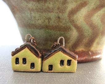 House Earrings, Copper Earrings, Stoneware Earrings, Stoneware Houses, Clay Earrings, Yellow Green, Yellow Green Houses