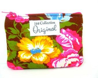 Velentina Brown Floral Coin Purse, Small Change Purse, Coin Wallet, Coin Pouch