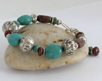 Painted Deseret TURQUOISE Hill Tribe Sterling Silver RED JADE Artisan Bracelet
