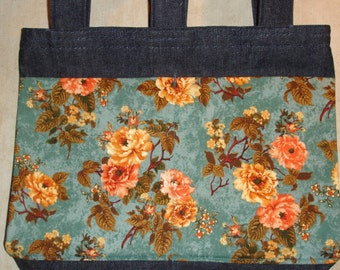 New Handmade Denim Walker Tote Bag Roses on Teal Background Theme