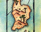 "Around the Bend Treasure Map / 3"" x 5"" Original Watercolor Painting  / Nautical Art / Pirate Art / Sailing Decor / Sailing Gift / Beach Art"