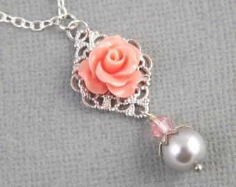 Simple Coral Silver and Gray Wedding Flower Bridesmaids Necklace